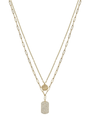 "Gold Layered Circle and Rhinestone Rectangle 16""-18"" Necklace"