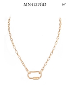 "Gold Chain with Carabiner 16"" Necklace"