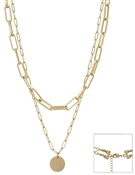 "Gold Chain Layered Coin 7""-19"" Necklace"
