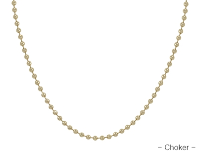 "Gold Beaded Choker  14""-17""  Necklace, Great for Layering"