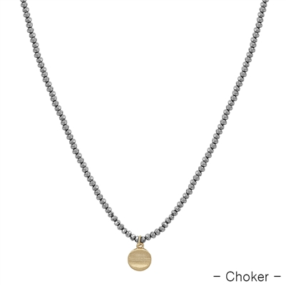"Grey Crystal with Gold Coin Drop Choker 14""-17"" Necklace"