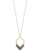 "Grey Crystal Hexagon on Gold Chain 34"" Necklace"