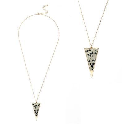 "Dalmatian Natural Stone and Gold Triangle 30"" Necklace"