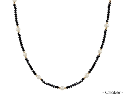 "Black Crystal Choker with Pearl 14""-16"" Necklace"