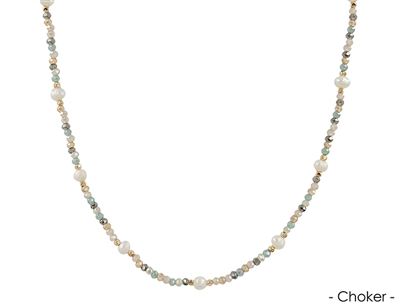 "Light Multi Crystal Choker with Pearl 14""-16"" Necklace"