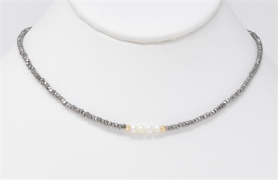 "Hematite Crystal Beaded Choker with Pearls 14""-17"" Necklaces"
