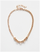 "Gold Link Chain, with Thick Link Accents 17""-19"" Necklace"
