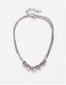 "Silver Link Chain, with Thick Link Accents 17""-19"" Necklace"