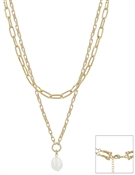"Gold Chain with Freshwater Pearl Drop 16""-18"" Necklace"
