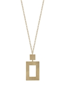 "Matte Gold Metal Square with Gold Chain 32"" Necklace"