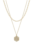 "Layered Gold Chain with Stamped Hexagon 16""-18"" Necklace"