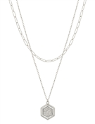 "Layered Silver Chain with Stamped Hexagon 16""-18"" Necklace"