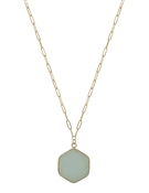 "Gold Chain with Mint Hexagon Natural Stone 16""-18"" Necklace"