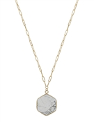 "Gold Chain with White Hexagon Natural Stone 16""-18"" Necklace"