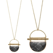 "Grey Half Moon and Gold Geometric 34"" Necklace"