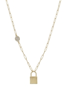 "Matte Gold Locket with Rhinestone Accent 16""-18"" Necklace"