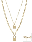 "Matte Gold Locket Double Layered 17""-19"" Multi Way Necklace"