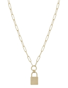 "Gold Chain with Matte Gold Locket 16""-18"" Necklace"