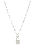 "Silver Chain with Matte Silver Locket 16""-18"" Necklace"