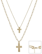 "Matte Gold Double Layer Cross Multi Way 16""-18"" Necklace"