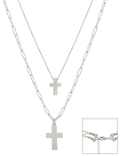 "Matte Silver Double Layer Cross Multi Way 16""-18"" Necklace"