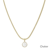 "Gold Snake Chain with Pearl Drop Choker 14""-17"" Necklace"