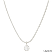 "Silver Snake Chain Choker with Pearl 14""-17"" Necklace"