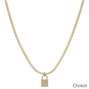 "Gold Snake Chain Choker with Locket Charm 14""-17"" Necklace"