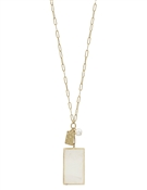 "Pearlized Rectangle and Pearl 34"" Necklace"