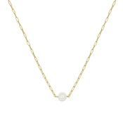 "Gold 16""-18"" with Freshwater Pearl Chain Necklace, Great for Layering!"