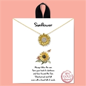 "Gold 16""-18"" Rhinestone Sunflower Necklace"