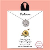 "Silver 16""-18"" Rhinestone Sunflower Necklace"