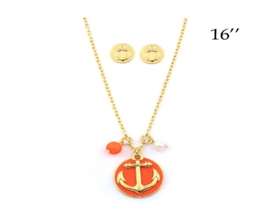 "Anchor 16"" Necklace with Coral Background and Charms"