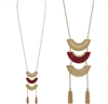 "Gold and Red Acrylic Layered 34"" Necklace with Tassel, Very Popular!"
