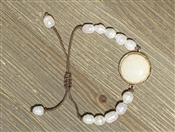 Cream and Pearl Pull String Bracelet
