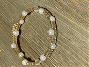 Gold Rhinestone and Pearl Wrap Bracelet