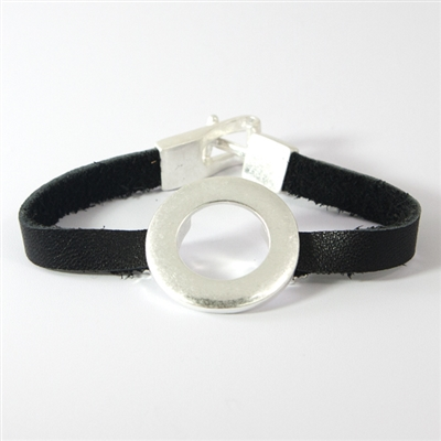 Black Leather Hook Bracelet with Silver Circle