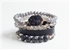Stack it! Grey Druzy, natural stone, and Leather Stack of 4 Bracelets