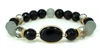 Black beaded stretch bracelet with accent stone