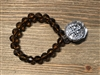 Brown Crystal Stretch Bracelet with Silver Coin