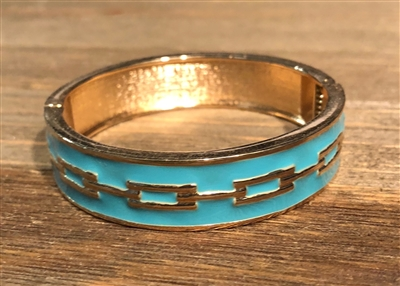 Blue Enamel Bangle with Gold Rectangles