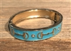 Blue Enamel with Gold Horseshoe Bangle Bracelet