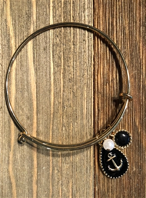 Gold Hinged Bracelet with Black Anchor