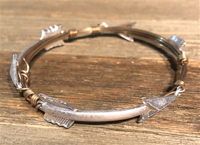 Gold Wire Wrapped Bracelet with Silver Arrows