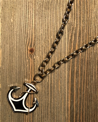 "Gold 24"" Necklace with Navy and White Anchor"