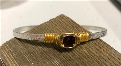 Silver Hinged Bracelet with Ruby Stone