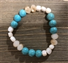 Cream Crystal and Turquoise  Stretch Bracelet