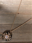 "Turtle Enamel with Gold Cross 30"" Necklace"