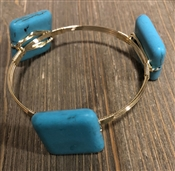 Turquoise Square Wire Wrapped Bangle