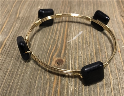 Black Square Wire Wrapped Bangle